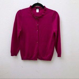 JCREW pink fuchsia magenta ruffle neck cardigan